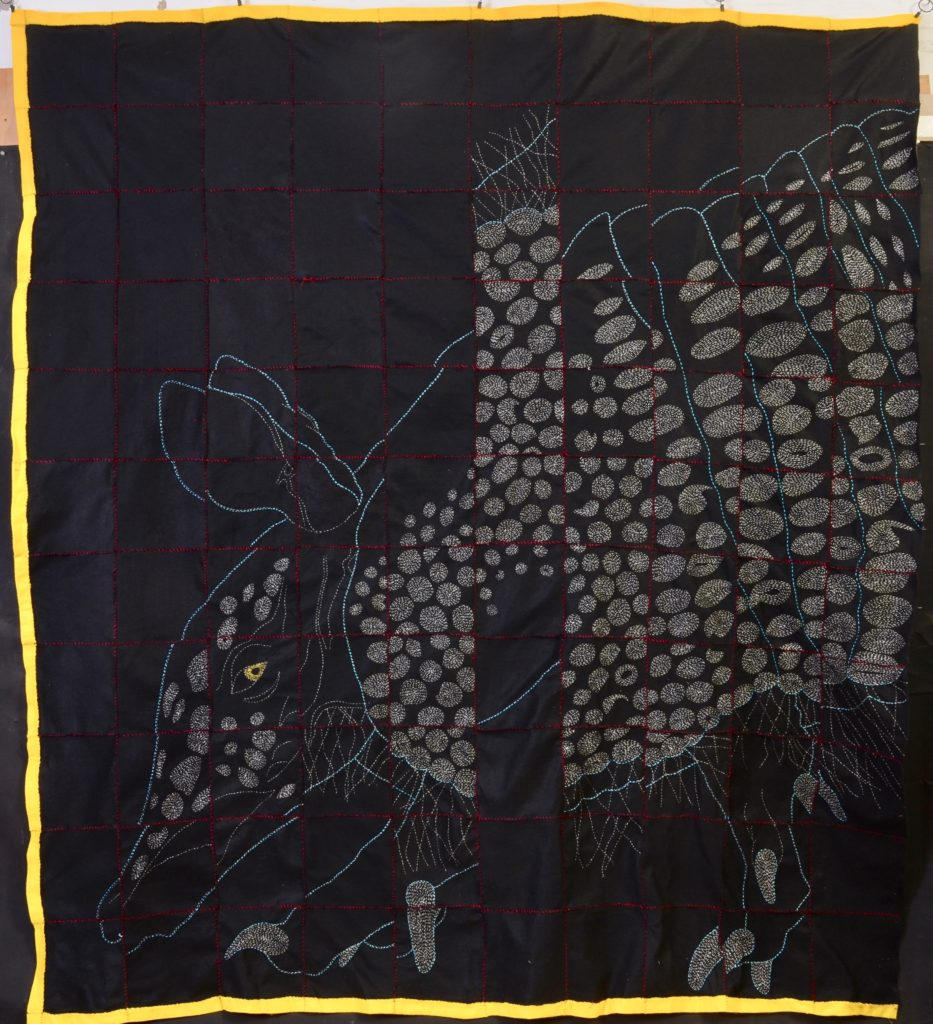 """Broken Armadillo - Panel 1/hand-embroidery on textile/8'2""""H x 8'5""""W"""
