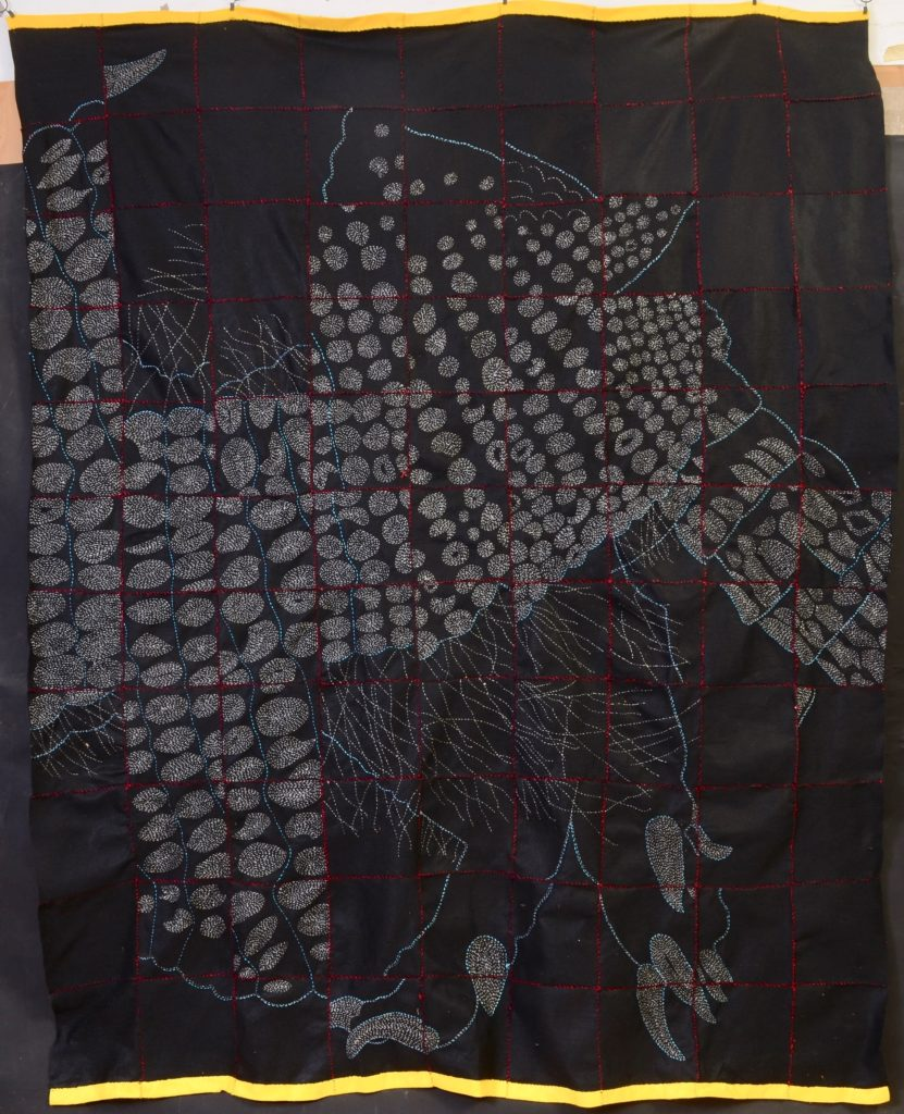 """Broken Armadillo - Panel 2/ hand-embroidery on textile/8'2""""H x 6'7""""W"""