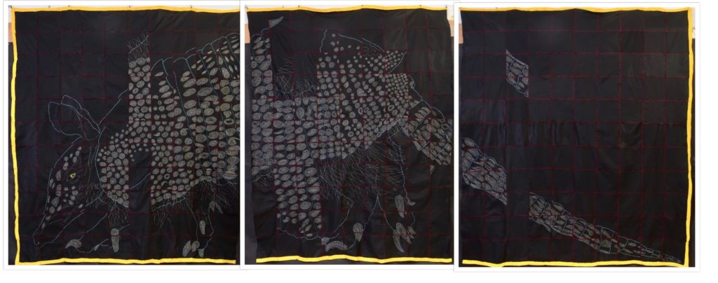 """Broken Armadillo Triptych/8'2""""H x 23'5""""W To see most effectively, click on image, then click again to enlarge"""