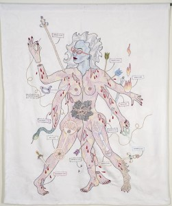 "Dense hand embroidery on vintage textile, 57"" x 48"". A woman with a double body displays large graphic wounds and the instruments that made them --- arrows, swords, clubs, etc. The wounds are dated and could refer to incidents my life. She holds scissors and needle & thread. It is a psychic self-portrait."