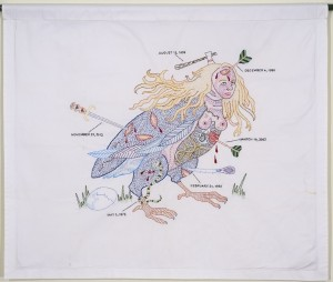 "Dense hand embroidery on vintage textile, 28"" x 33"". A bird's body with a woman's head displays large graphic wounds and the instruments that made them --- arrows, swords, clubs, etc. The wounds are dated and could refer to incidents my life."