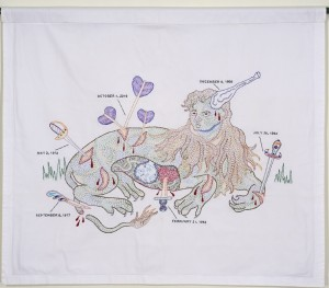 "Dense hand embroidery on vintage textile, 28"" x 33"". A lion's body with a man's head displays large graphic wounds and the instruments that made them --- arrows, swords, clubs, etc. The wounds are dated and could refer to incidents my life"