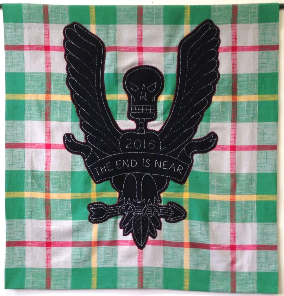 """Screwed - Eagle/39"""" x 38""""/hand-embroidery & applique on vintage textile"""