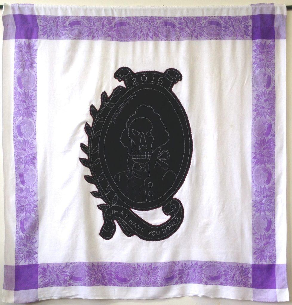 "Screwed - G. Washington/48"" x 44"" /hand-embroidery & applique on vintage textile"