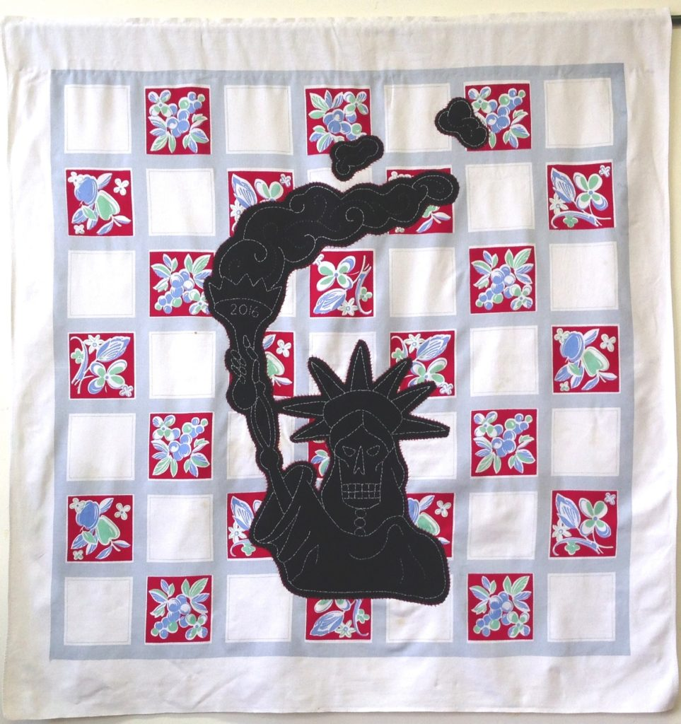 """Screwed - Statue of Liberty/50"""" x 49"""" /hand-embroidery & applique on vintage textile"""
