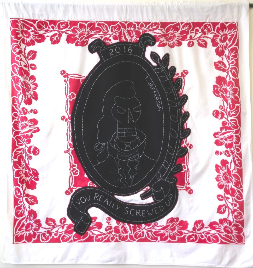"""Screwed - T. Jefferson/46"""" x 44""""/hand-embroidery & applique on vintage textile"""