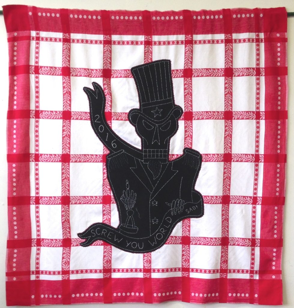 """Screwed - Uncle Sam/47"""" x 50""""/hand-embroidery & applique on vintage textile"""