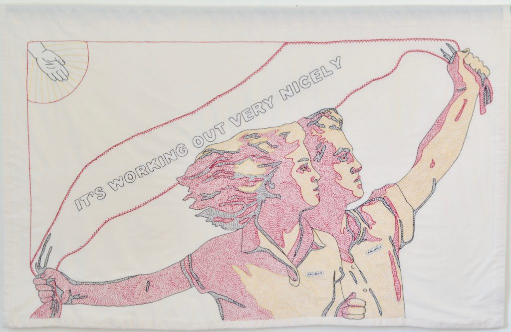 """Needling the Regime: Nicely/32"""" x 49""""/hand-embroidery on textile"""