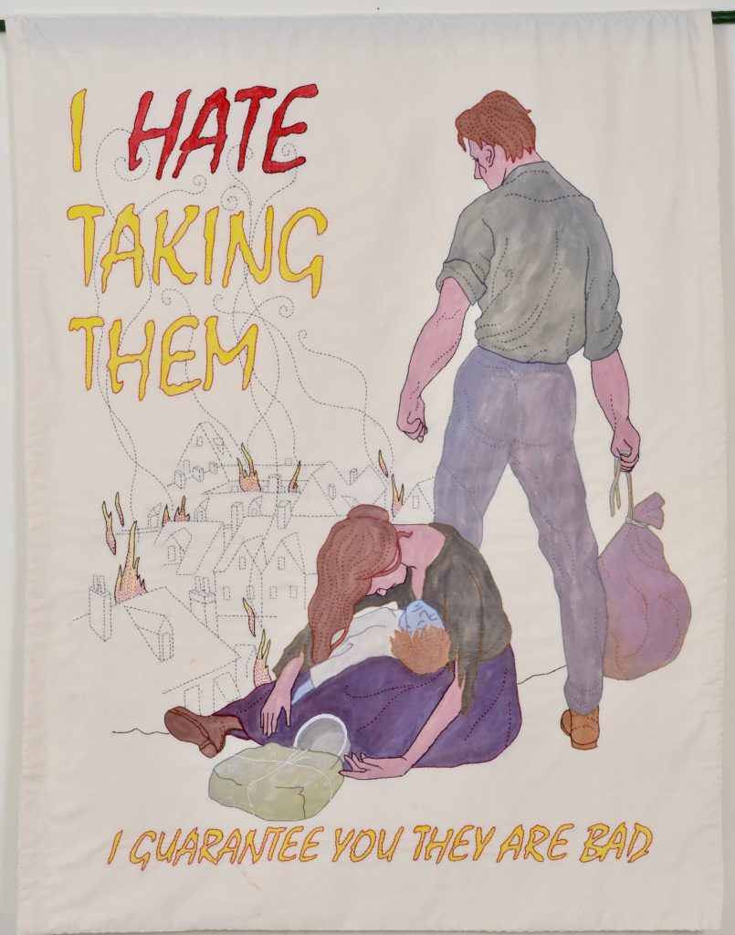 """Needling the Regime: Hate/44"""" x 34/ hand-embroidery on textile"""