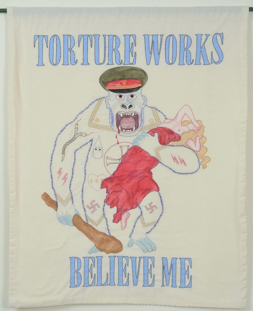 "Needling the Regime: Torture/33"" x 41""/hand-embroidery on textile"