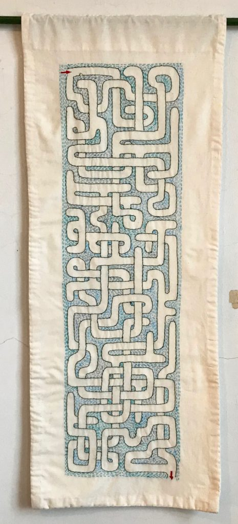 "Memento Mori Maze (Blue) 38"" x 15""/hand-embroidery on textile"