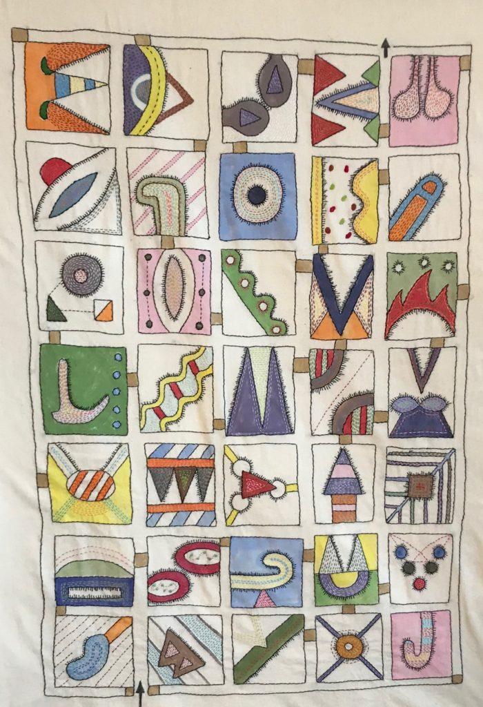 Memento Mori Maze (Symbol 1)/hand-embroidery on textile/32 x 46