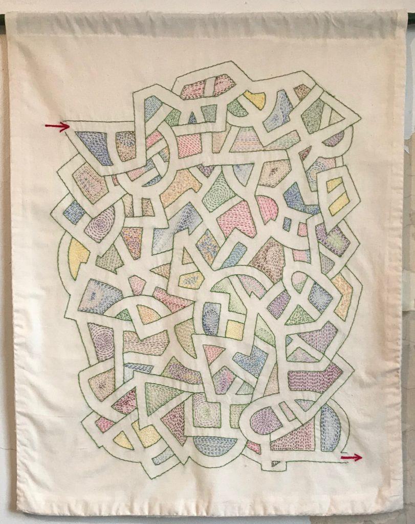 Memento Mori Maze (square)/38x 29/hand-embroidery on textile