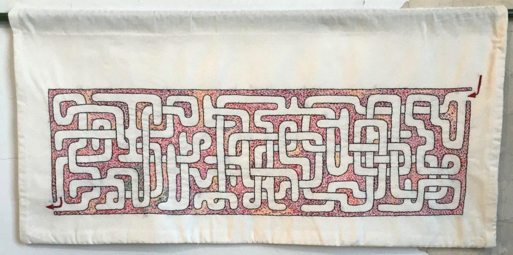 Memento Mori Maze (red)/16 x 34/hand-embroidery on textile
