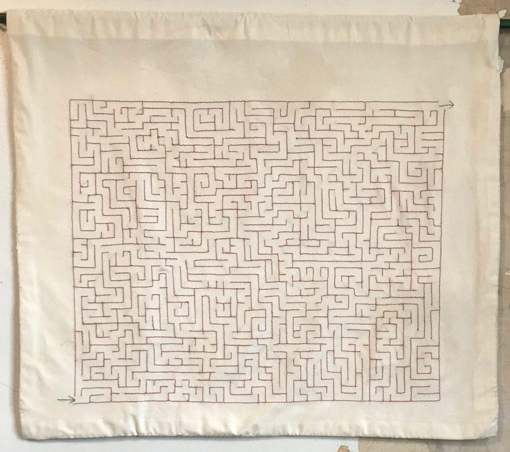Memento Mori Maze (square)/29.5 x 34/hand-embroidery on textile