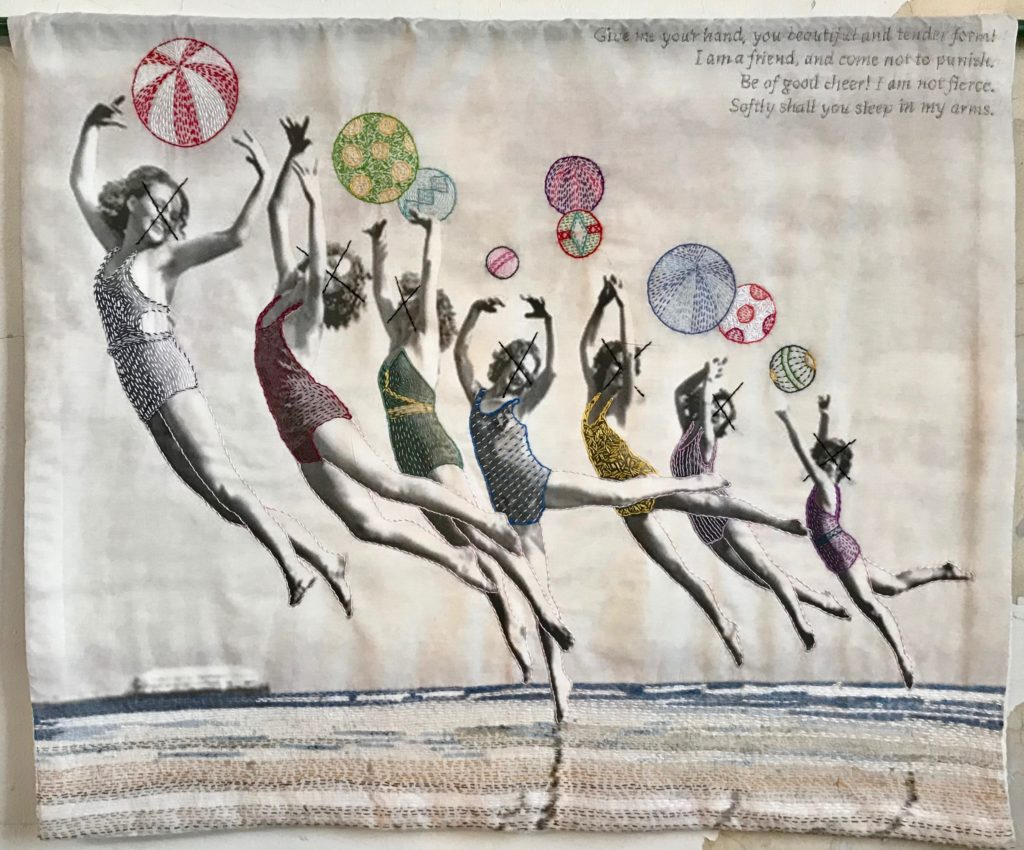 Vintage Memento Mori:Beach Dancers/hand-embroidery on printed textile/26x31
