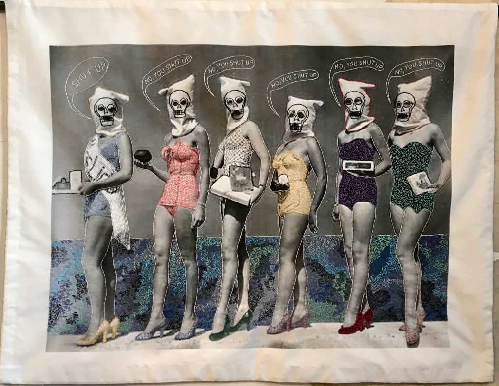 Vintage Memento Mori:Bathing Beauties/hand-embroidery on printed textile/27 x 36